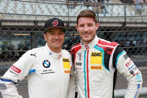 Timo Scheider (l.) und Kevin Estre punkteten auf dem Sachsenring. Noger