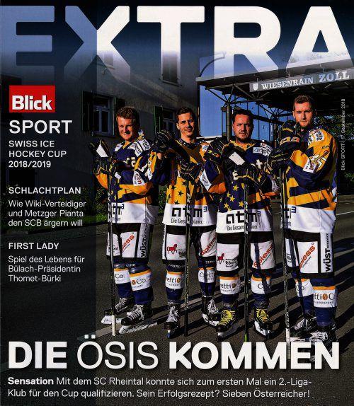 Vier Vorarlberger als Blickfang für den Schweizer Eishockey-Cup: Patrick Gschliffner, Adrian Ströhle, Martin Grabher-Meyer und Dominic Pfeiffer.Blick
