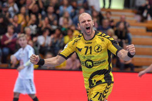 Vlatko Mitkov fixierte fünf Sekunden vor dem Abpfiff den 21:21-Endstand. gepa