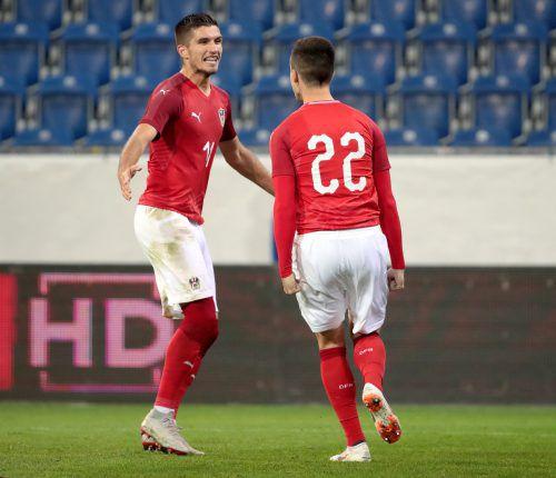 Am Dienstag jubelte Adrian Grbic (im Bild links mit U-21-Teamkollege Arnel Jakupovic), auf die Nichtnominierung für das LASK-Spiel reagierte er mit Verärgerung.gepa