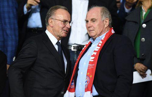 Bayern Münchens Legenden Karl-Heinz Rummenigge und Uli Hoeneß kritisierten die Medien aufs Schärfste und lieferten eine denkwürdige Pressekonferenz ab.afp