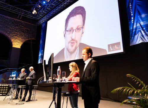 Der in Russland im Exil lebende Snowden war live per Video zugeschaltet. APA