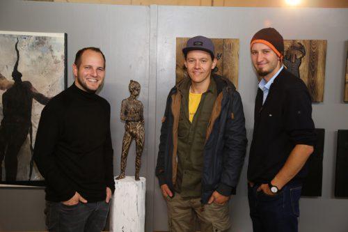 Die drei Künstler Stefan Finzgar, Victor Mangeng und Clemens Walser.Emir T. Uysal