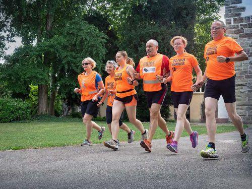 Die Laufgruppe mit Irene Weber, Verena Amrein, Judith Aeschlimann, Gabor Szirt, Pavla Flamova und Gregor Leonhardt (von links). Drei von ihnen werden auch beim 3-Länder-Marathon am Start sein.Verein Blind-Jogging