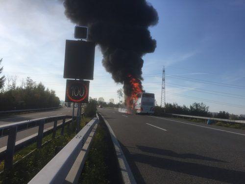 Die mehr als zwanzig Passagiere und der Fahrer des brennenden Busses konnten sich noch rechtzeitig in Sicherheit bringen. kapo