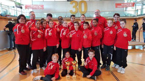 Die siegreiche Mannschaft in Salzburg.Taekwondo Mustang