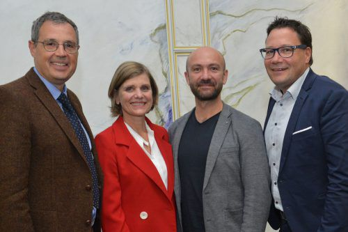 Enquete der ARGE EB: Vorsitzender Hans Rapp, LR Barbara Schöbi-Fink, Referent Florian Kondert, Projektleiter Stefan Fischnaller.
