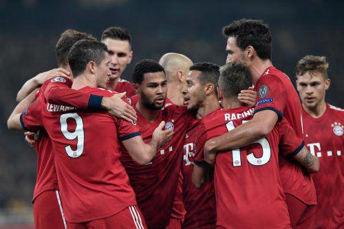 Es gibt ihn doch noch, den Bayern-Jubel: Nachdem es zuletzt für die Münchner nicht nach Wunsch verlief, feierten sie nun den zweiten Sieg innert vier Tagen.Afp