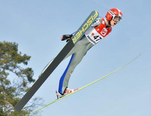 Eva Pinkelnig sprang so weit wie keine andere. Die Dornbirnerin holte sich in Bischofshofen den österreichischen Meistertitel auf der Großschanze.gepa
