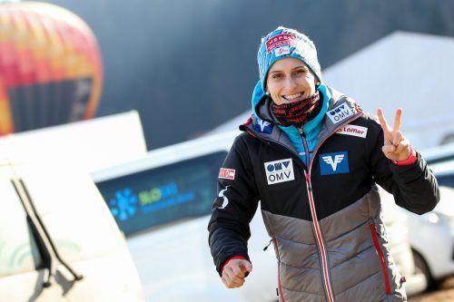 Hat vor allem Gefallen an Großschanzen gefunden: Eva Pinkelnig hat ihre Freude am Skispringen wiedergefunden.gepa