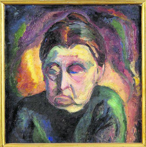 """Frau Langwara als """"die Meditierende"""", gemalt von ihrem Schwiegersohn O. Niemayer (1920)."""