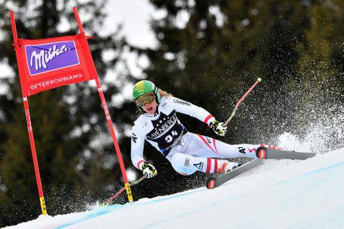 Katharina Liensberger gehört im Slalom zur Weltspitze, im Riesentorlauf tastet sich die Göfnerin heran.gepa