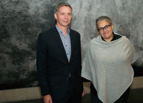 Kub-Direktor Thomas D. Trummer und Künstlerin Tacita Dean bei der Eröffnung.