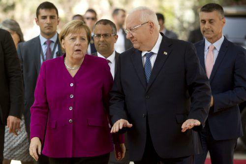 Merkel traf unter anderem mit Präsident Rivlin in Jerusalem zusammen.AP