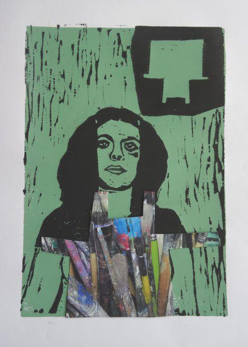 Mit ihren Linol- und Holzschnitten gibt die Künstlerin May-Britt Nyberg Chromy den starken Frauen in Feldkirch ein besonderes Gesicht.may-britt nymberg chromy/anne marie jehle