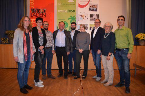 Organisatoren Carmen Willi, Dorothee Glöckle, Manfred Felder, Marlies Nenning, Christian Natter mit Bgm. Krottenhammer und Beer, Dr. Kromp-Kolb und LR Rauch. me