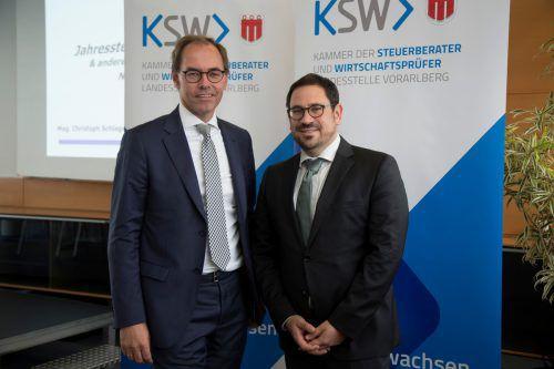 Steuerberater-Präsident Jürgen Reiner (li.) und Christoph Schlager, BMF. VN/Paulitsch