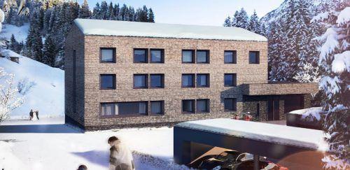 Upgrade: Das neue Appartementhaus freut den Steeger Bürgermeister und nutzt die Nähe zum Skigebiet Warth. Rendering Stickel
