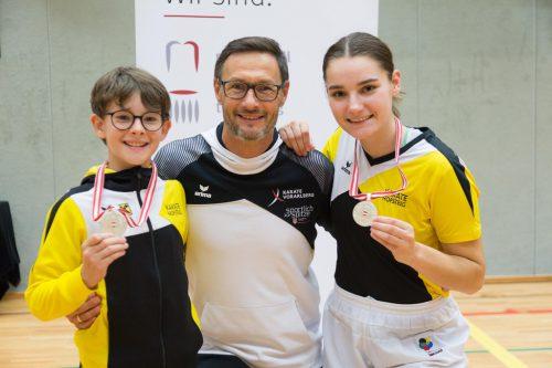 V. l. David Nussbaumer, KH-Trainer Geri Grafoner und Marijana Maksimovic. kh
