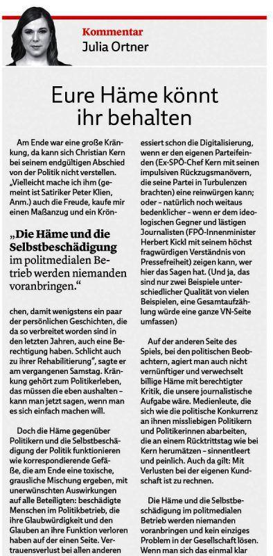 VN-Kommentar von Julia Ortner vom 9. Oktober 2018.