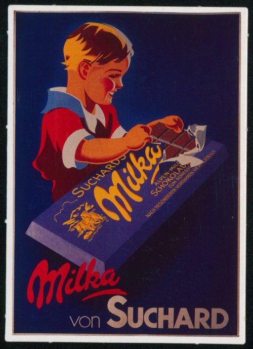 """1901 ist das Geburtsjahr der """"Milka"""". In ihrem typischen lila Umschlag kommt sie in Deutschland, Österreich und der Schweiz auf den Markt. Postkartensammlung Vorarlberger Landesbibliothek, Josef Wilhelm Purtscher, Helmut Klapper"""