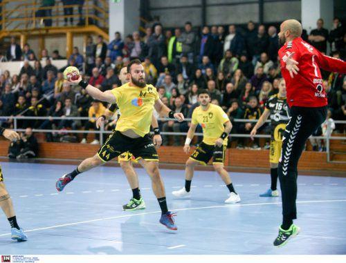 An Goalie Goran Aleksic lag es nicht, dass die Bregenzer Handballer das Europacup-Hinspiel in Athen mit 25:29-Toren verloren.intime Sport Fotos