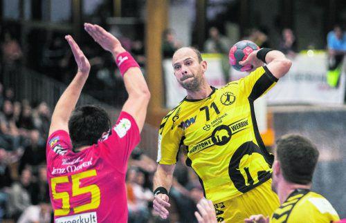 Bregenz-Neuzugang Vlatko Mitkov führt aktuell mit 73 Treffern die Torschützenliste der Spusu Liga an. Zudem hat der Linkshänder 25 seiner 35 Siebenmeter verwandelt und liegt damit auch in dieser Ligawertung in Front. VN/Sams
