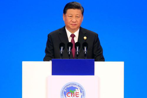 Chinas Präsident Xi Jinping bei der Messe International Import Expo. AFP