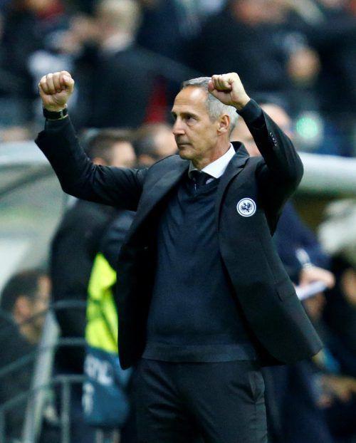 Der Altacher Adi Hütter hat die Fans der Frankfurter Eintracht mit seiner Arbeit überzeugt und erntet jetzt schon große Zustimmung.Reuters