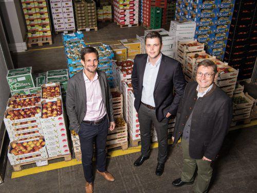 Die Fruchtexpress-Geschäftsleitung (v.l.): Patrick Grabher, Felix Grabher, Hubert Grabher. Firma