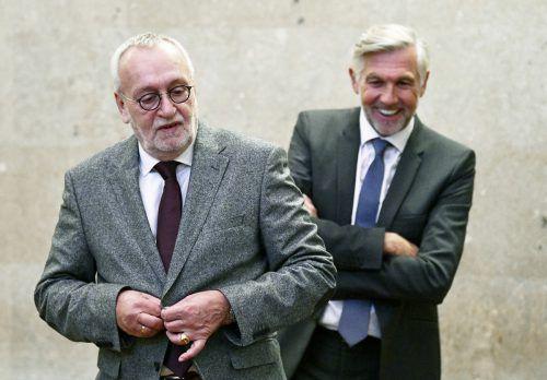 Fischer (l.) und Meischberger im Wiener Straflandesgericht. APA