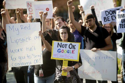 Google-Mitarbeiter protestierten weltweit gegen Sexismus im Konzern. ap