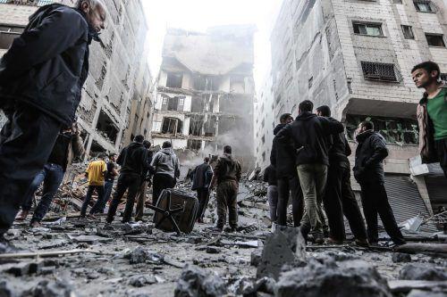 In der Stadt Gaza wurden zahlreiche Gebäude durch Luftangriffe der israelischen Armee zerstört. afp