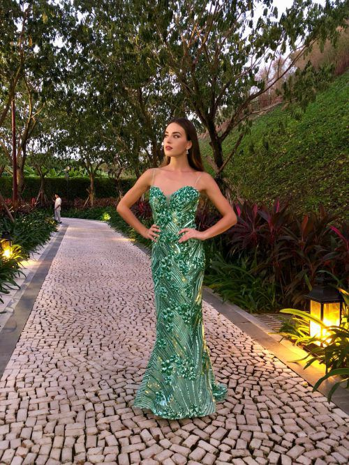 Izabela trug beim Model-Contest eine Designerrobe von Erika Suess.