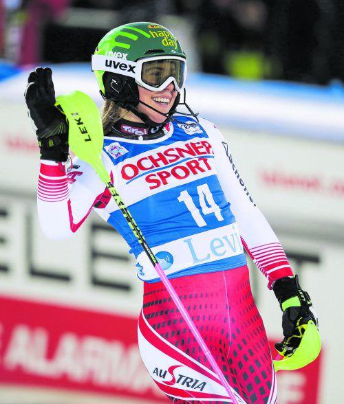 Katharina Liensberger fuhr im Slalom von Levi im zweiten Durchgang die zweitbeste Zeit, durfte sich am Ende über Platz acht freuen.gepa