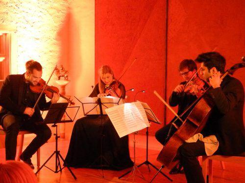 Marc Bouchkov, Tanja Sonc, Adrien Boisseau und Kian Soltani gestern Abend in der Propstei St. Gerold. VN/cd