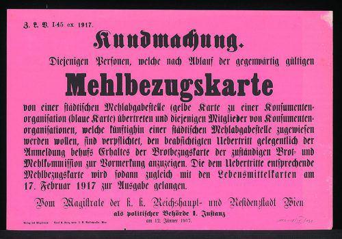 Mehlbezugskarten rationierten auch im Weltkrieg den Verbrauch. ÖNB/Bildarchiv