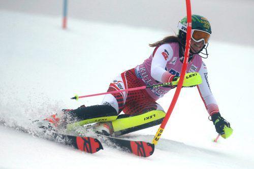 Nach der fulminanten Aufholjagd und dem besten Ergebnis im Riesentorlauf musste sich Katharina Liensberger im Slalom mit Rang zwölf begnügen.GEPA