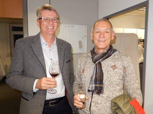 Reinhard Moosbrugger und Anton Erath gratulierten zum Jubiläum.