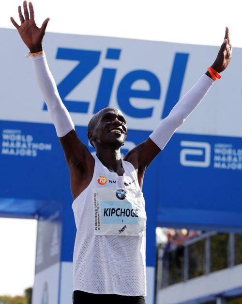 Rio-Olympiasieger Eliud Kipchoge nach seinem Weltrekord in Berlin.AFP