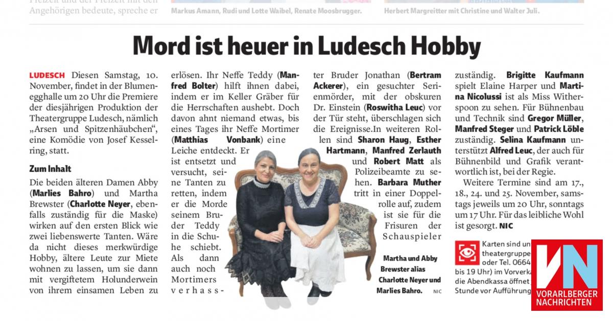 VN Heimat Ankündigung: Mord ist heuer in Ludesch Hobby.