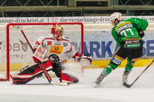 VEU-Goalie Alex Caffi verzeichnete beim 5:1-Erfolg im Derby gegen den Bregenzerwald bei 41 Schüssen lediglich ein Gegentor.Stiplovsek