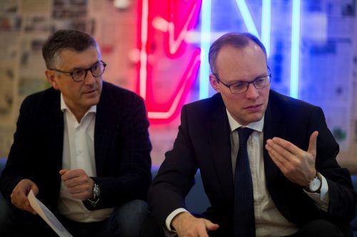 Während VGKK-Obmann Manfred Brunner (l.) verbal gegen die Kassenreform polterte, gab sich Hauptverbandschef Alexander Biach noch moderat.vn/paulitsch