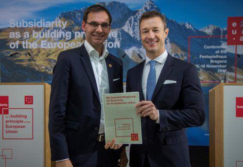 Wallner und Blümel präsentierten die Deklaration. VN/Paulitsch