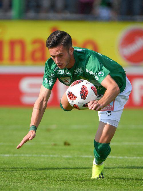 Weitere Tore von Ronivaldo sollen der Lustenauer Austria im Heimspiel gegen Amstetten zum Sieg verhelfen.gepa