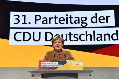 Angela Merkel redet auf ihrem letzten Parteitag als CDU-Chefin. afp