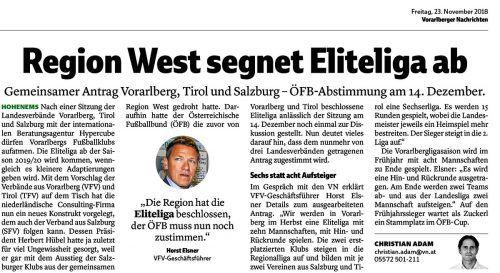 Bereits Ende November hatten die Vorarlberger Nachrichten von der Einführung der Eliteliga berichtet.