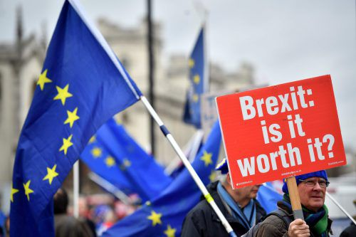 Brexit-Gegner protestieren weiter vor dem Parlament in London. afp