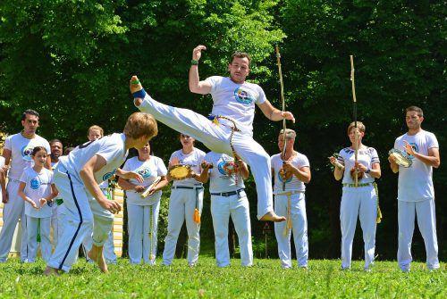 """Die akrobatischen Kämpfe werden unter anderem von dem Musikbogen """"Berimbau"""" begleitet."""