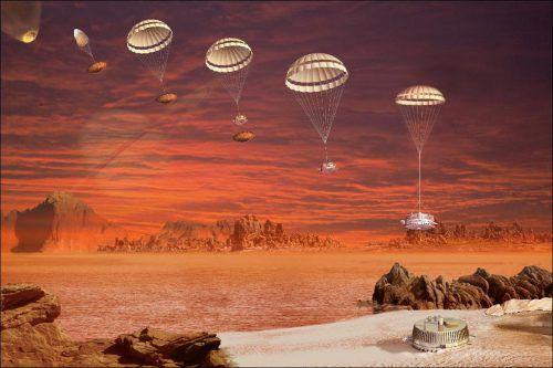 Die künstlerische Darstellung zeigt, wie sich die Europäische Weltraumorganisation eine Sondenabstiegssequenz auf dem Saturnmond Titan vorstellt.ESA
